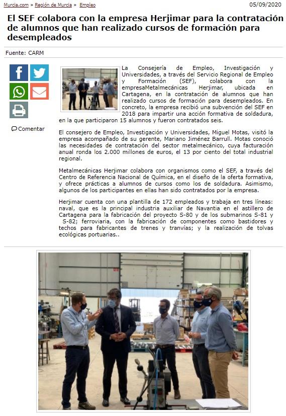 El SEF colabora con la empresa Herjimar